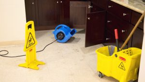Janitorial air movers in action