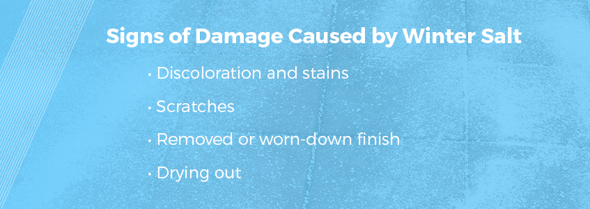 Signs of salt damage to floors