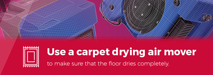 Use a carpet drying air mover